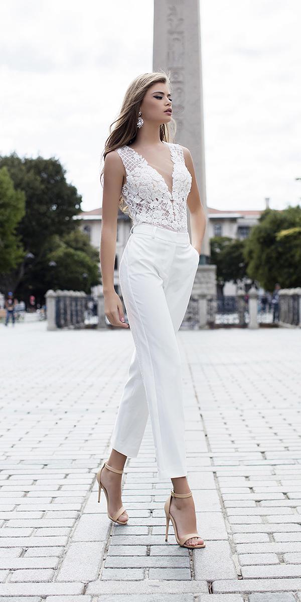 liretta wedding dresses pantsuit lace top deep v neckline