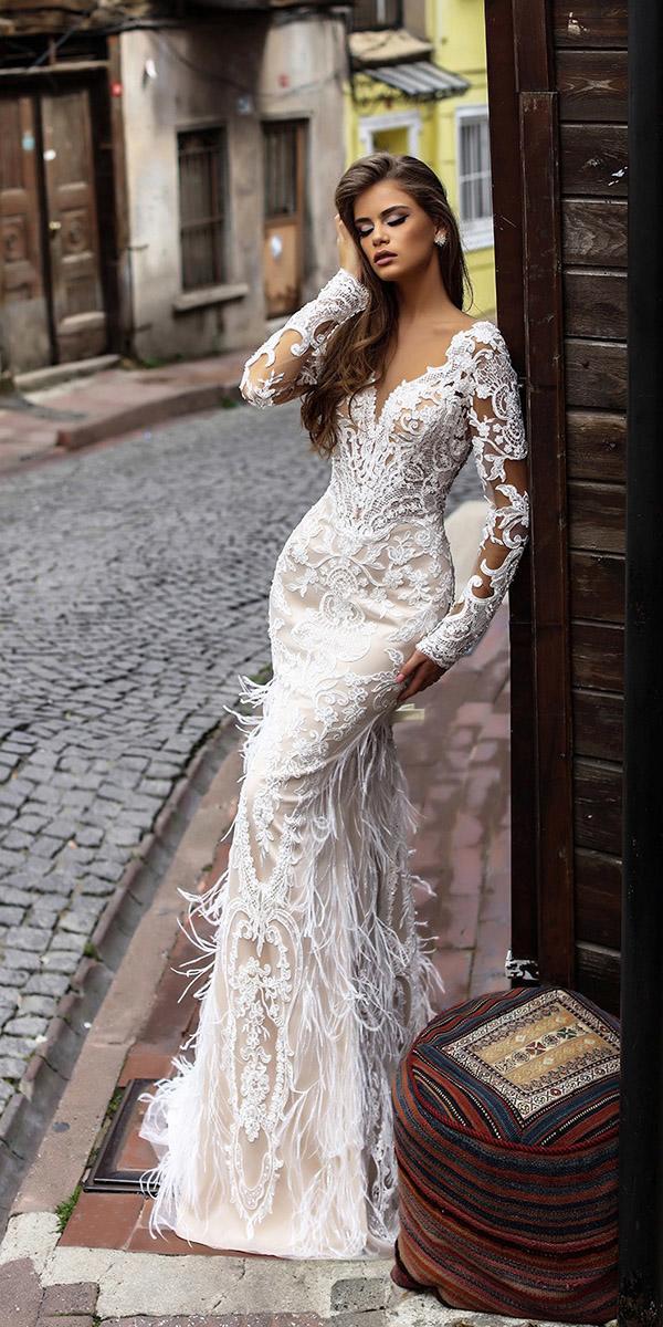 liretta wedding dresse sheath with long sleeves full lace 2018
