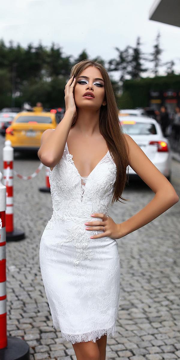liretta wedding dresses short deep v neckline lace sexy