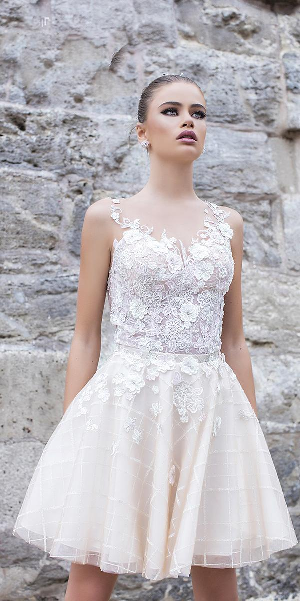 liretta wedding dresses short floral lace ivory