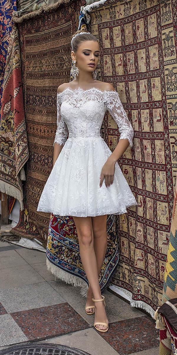 liretta wedding dresses short off the shoulder with three quote sleeves lace 2018