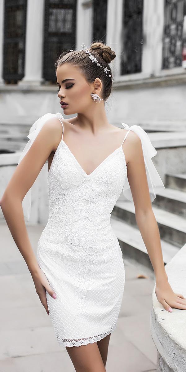 liretta wedding dresses short with spaghetti straps v neckline minimalist