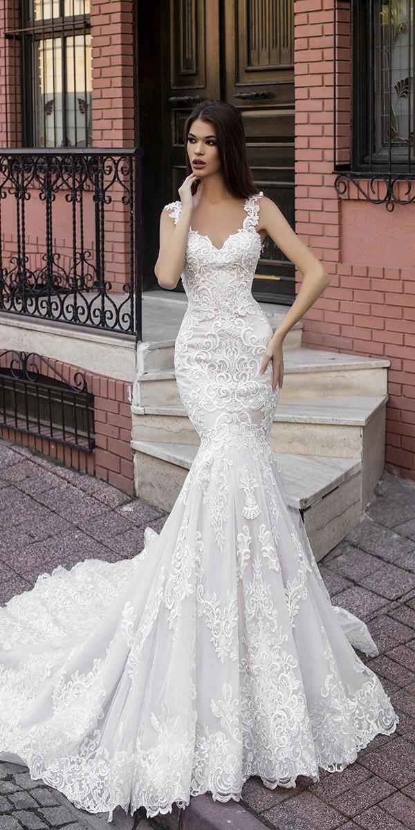 mermaid sweetheart with lace straps pollardi wedding dresses