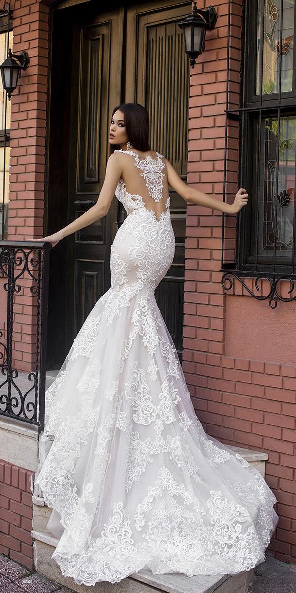 mermaid unique back tattoo effect pollardi wedding dresses