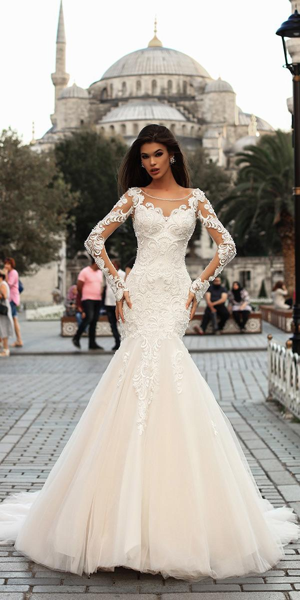 mermaid with long illusion sleeves full lace pollardi wedding dresses