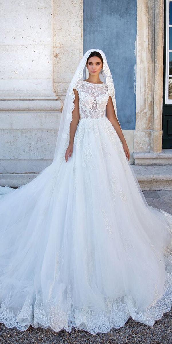 milla nova wedding dresses a line with cap sleeves lace top elegant veil