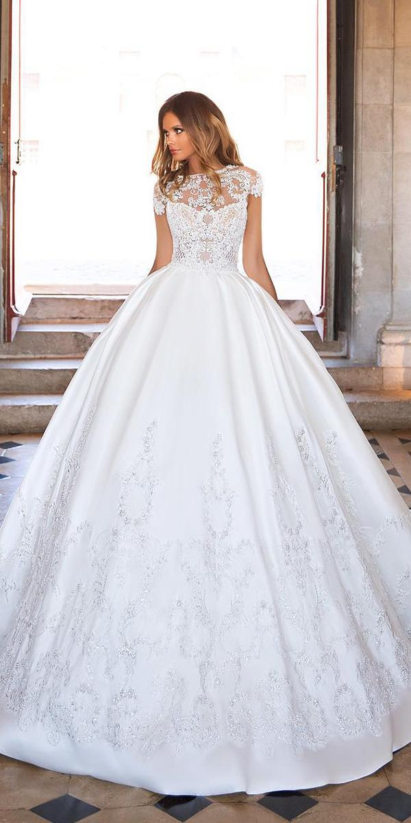 milla nova wedding dresses ball gown with cap sleeves lace sweetheart 2018