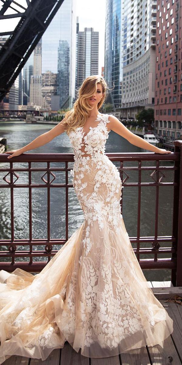 milla nova wedding dresses mermaid floral embellishment blush