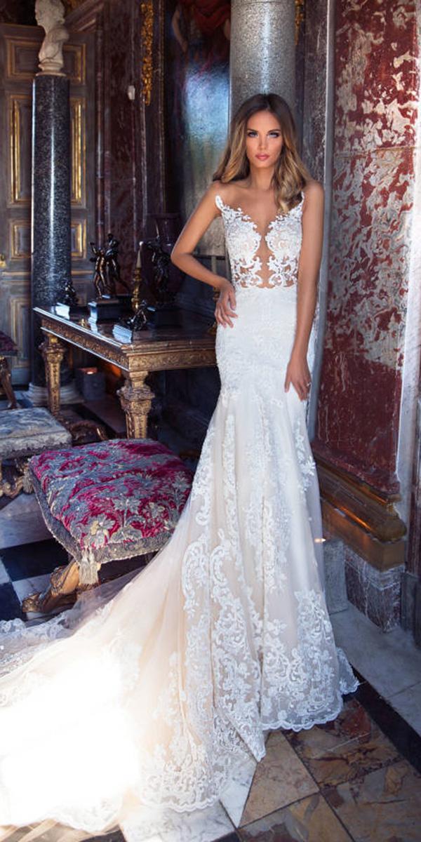 milla nova wedding dresses mermaid floral embroidery with train sexy