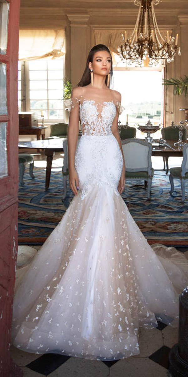 milla nova wedding dresses mermaid illusion off the shoulder lace