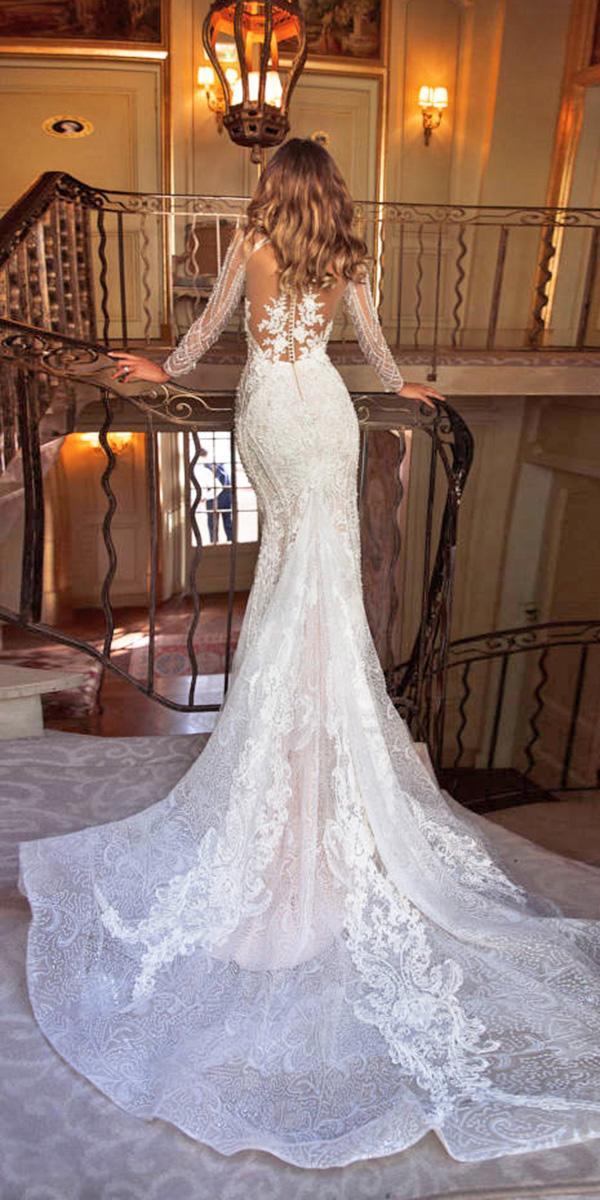 long sleeve mermaid tattoo back wedding dresses milla nova