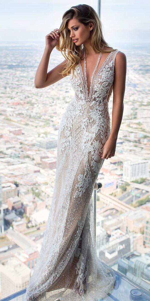 milla nova wedding dresses sheath deep v neckline lace floral sexy