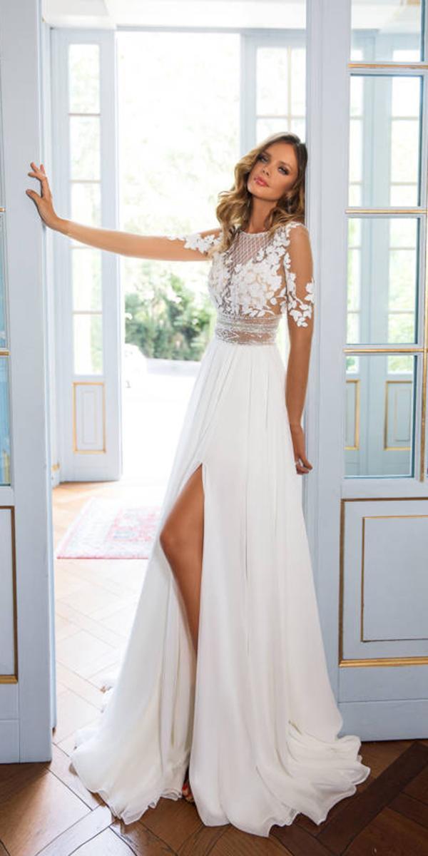 milla nova wedding dresses sheath floral top with illusion sleeves