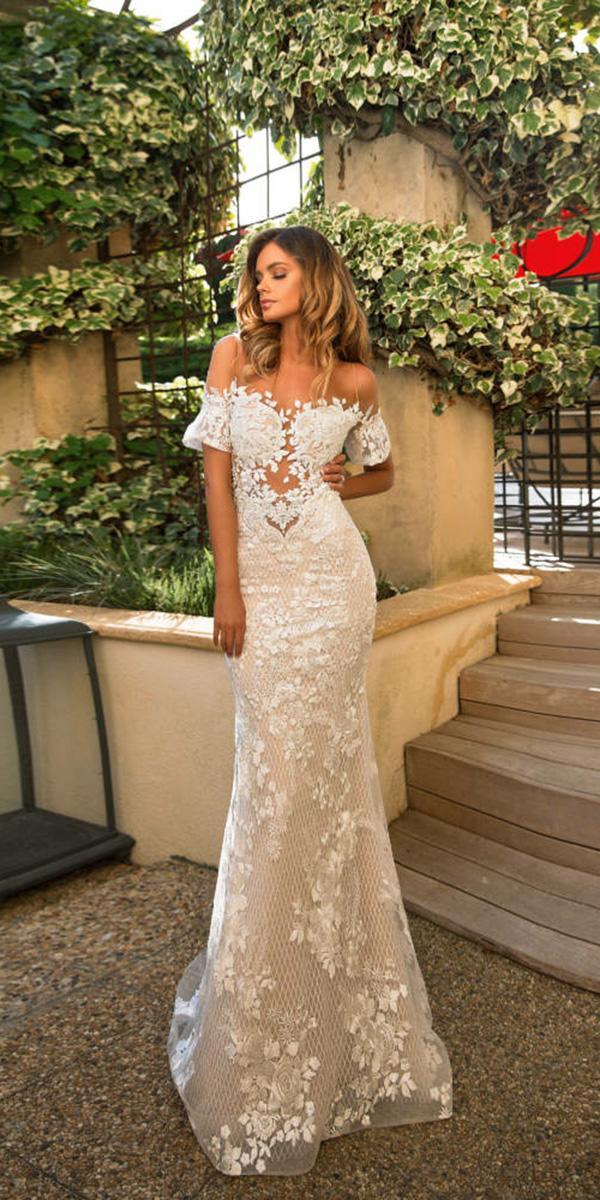 milla nova wedding dresses sheath off the shoulder floral embellishent ivory