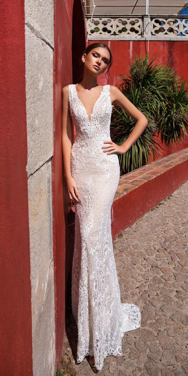 milla nova wedding dresses sheath v neckline lace embellishment sexy