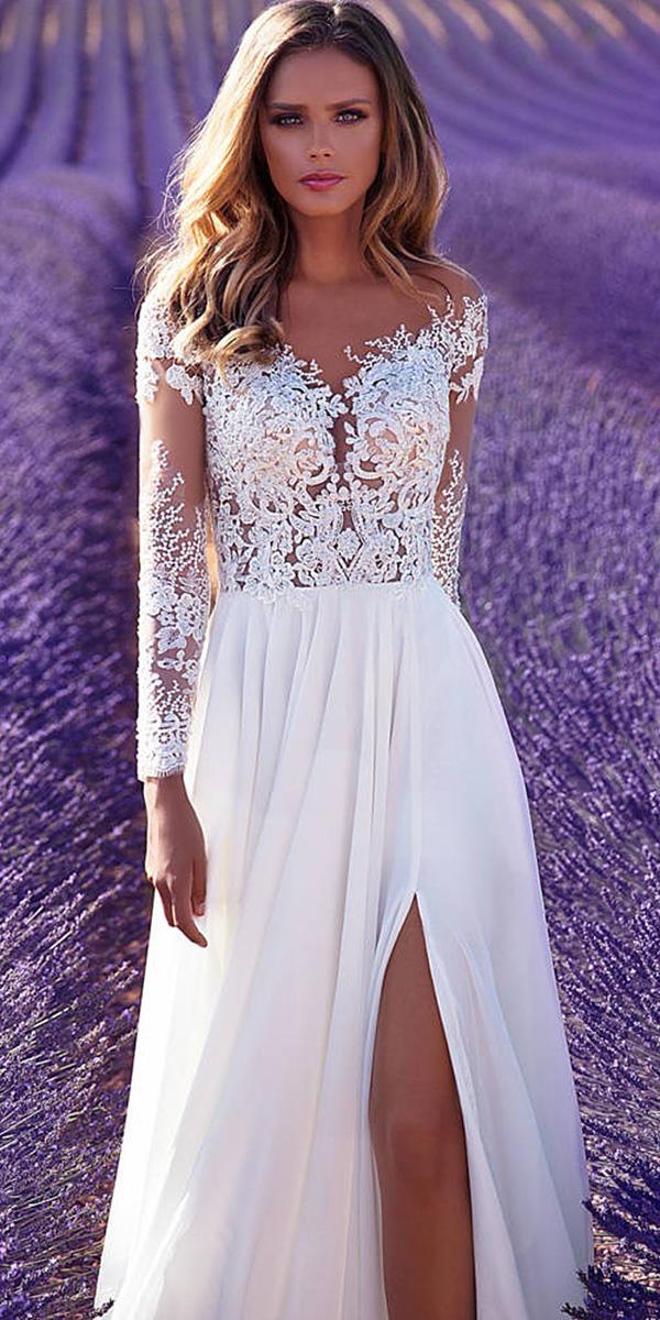 milla nova wedding dresses sheath with illusion long sleeves sweetheart lace slit 2018