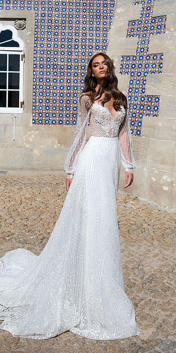 milla nova wedding dresses sheath with long sleeves sweetheart 2018