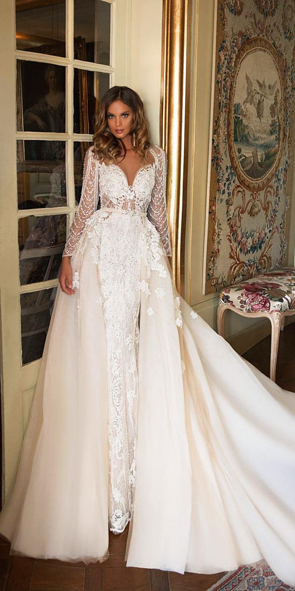 milla nova wedding dresses sheath with long sleeves sweetheart overskirt ivory