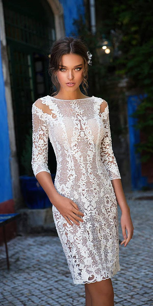 milla nova wedding dresses short with three quote sleeves lace sexy