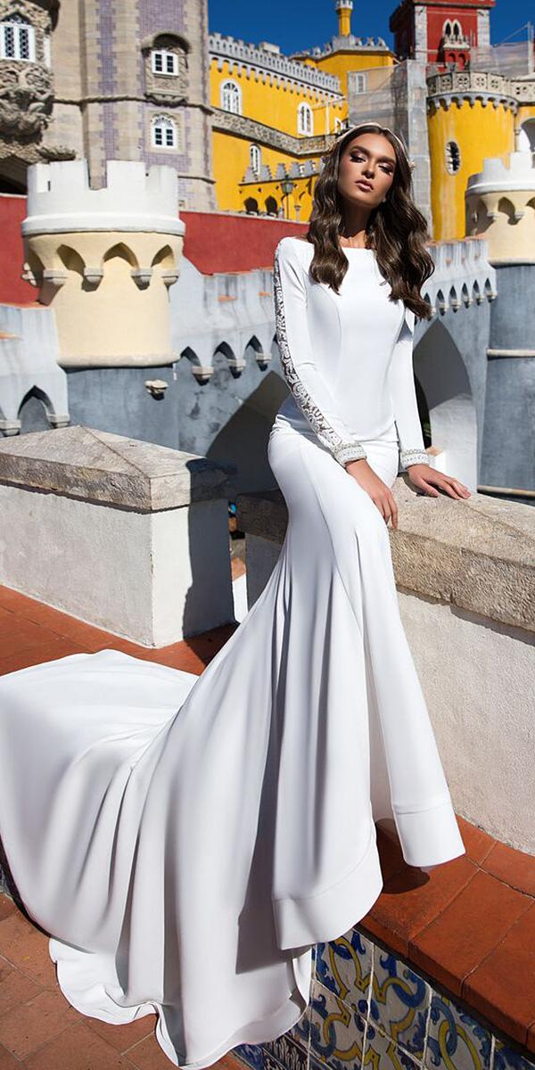 milla nova wedding dresses with long sleeves jewel neckline simple elegant