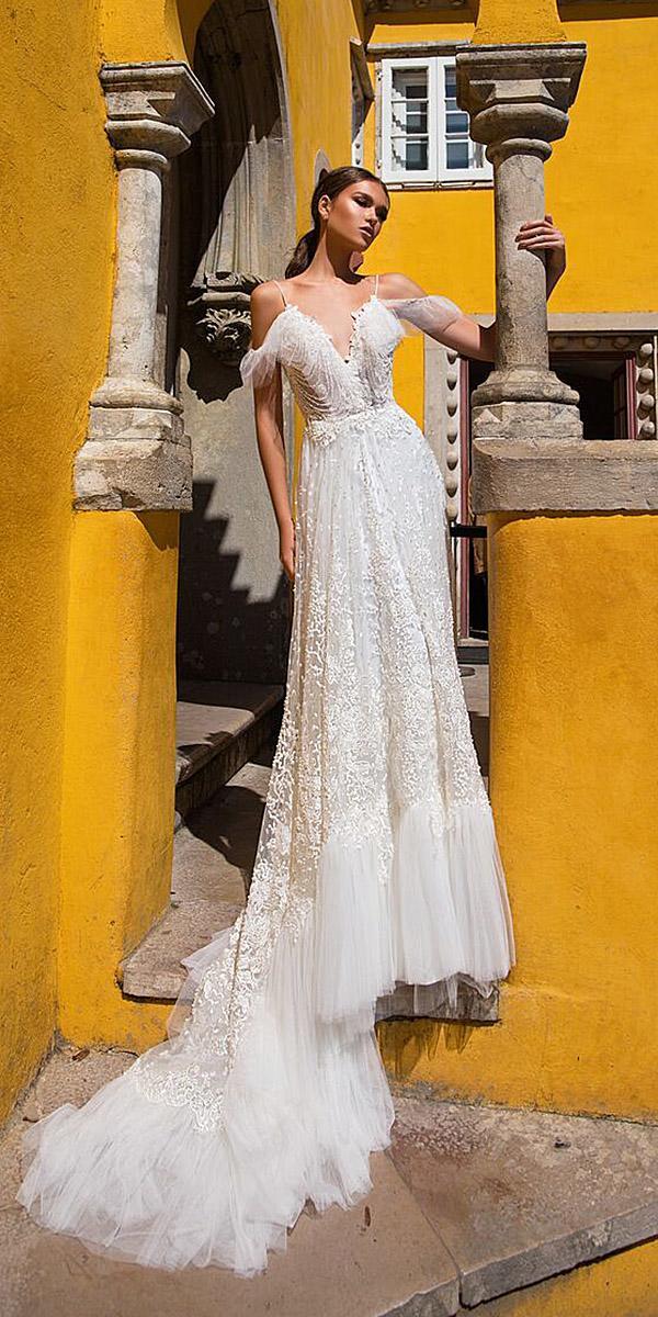 milla nova wedding dresses with spaghetti straps off the shoulder lace beach