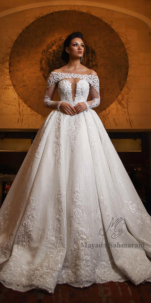 off the shoulder wedding dresses ball gown deep v neckline lace maya dasah marani