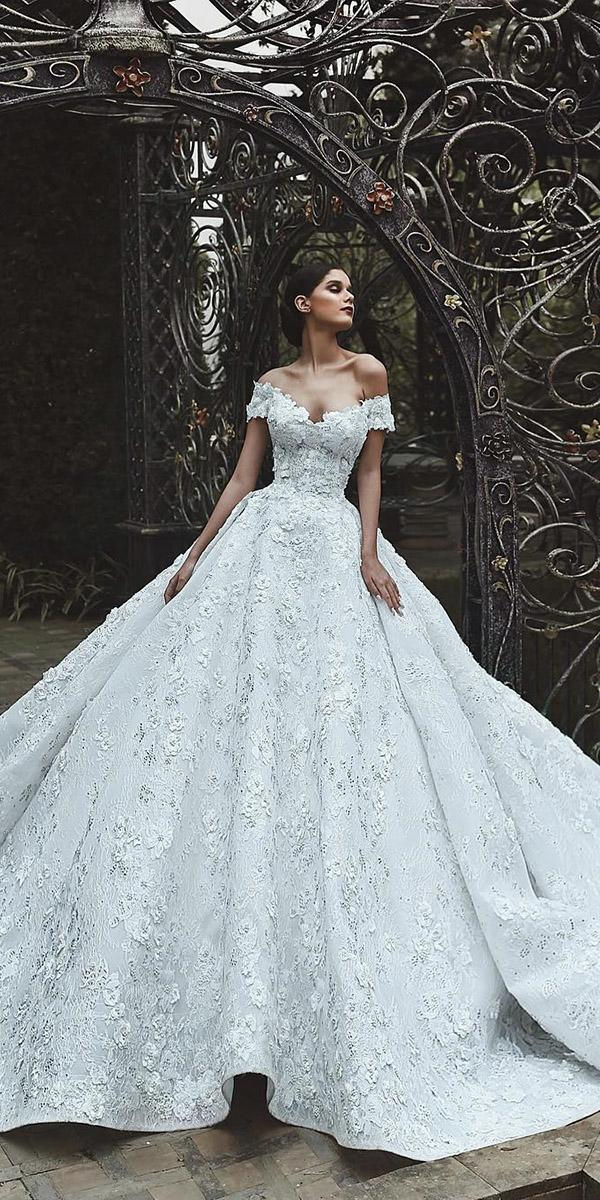 of the shoulder wedding dresses ball gown lace floral luxury said mhamad photography