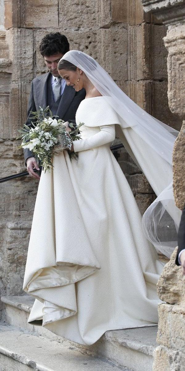 off the shoulder wedding dresses ball gown with long sleeves simple emilia wickstead