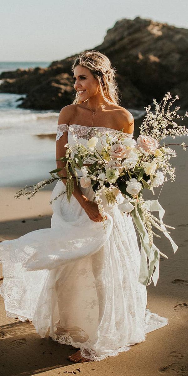 off the shoulder wedding dresses beach modest a line grace loves lace