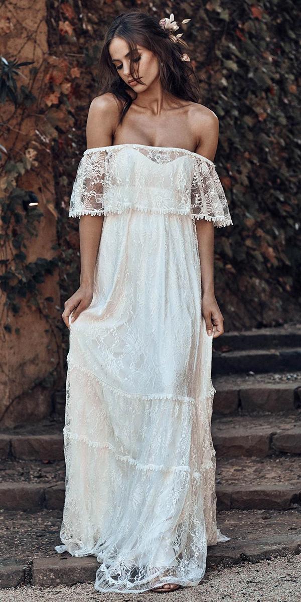 off the shoulder wedding dresses boho lace outdoor grace love lace