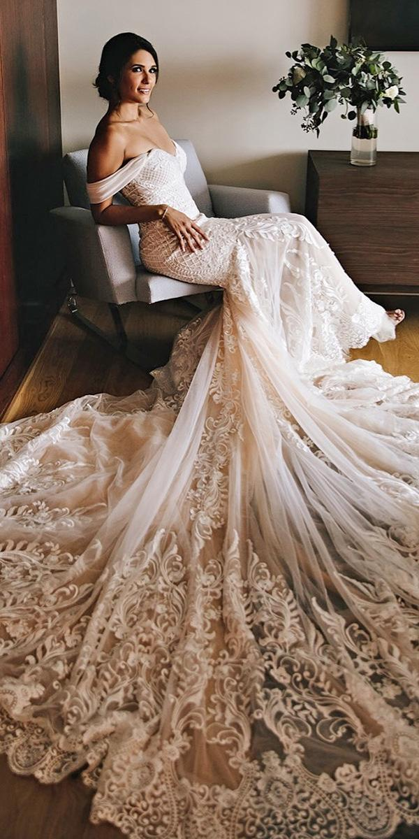 off the shoulder wedding dresses lace luxury with train calla blanche