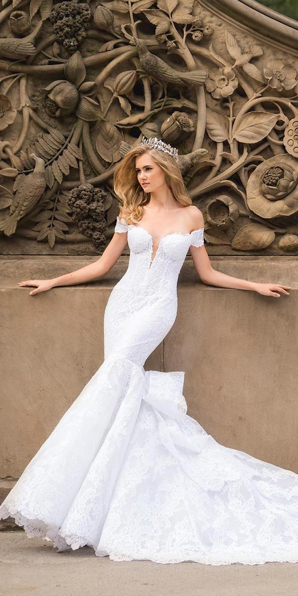 off the shoulder wedding dresses mermaid plunging neckline lace pnina tornai