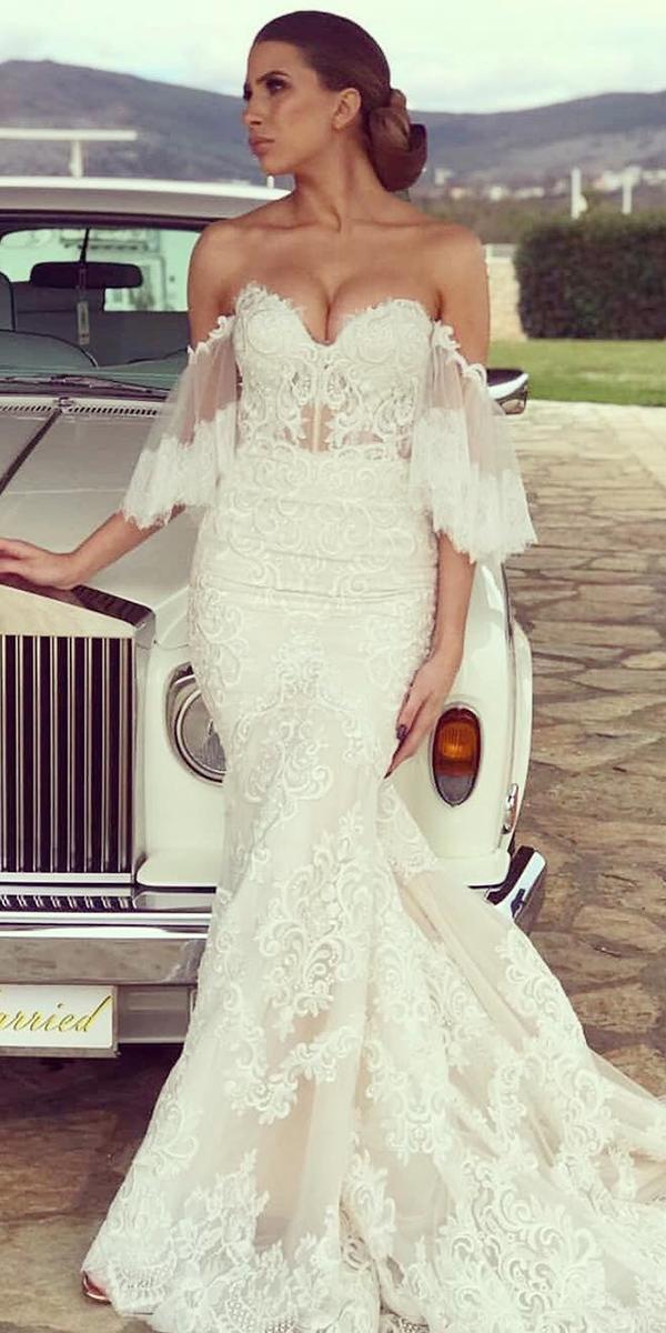 off the shoulder wedding dresses mermaid sweetheart strapless lace riki dalal