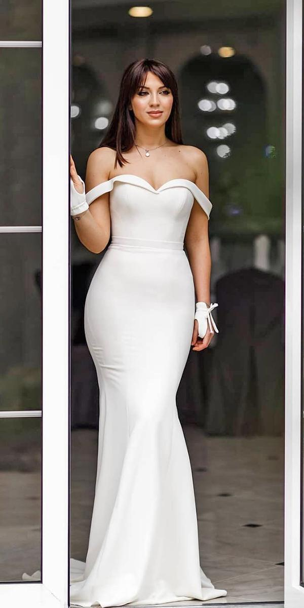 off the shoulder wedding dresses sheath simple beach galia lahav