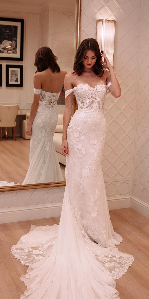 off the shoulder wedding dresses sheath strapless floral appliques pronovias