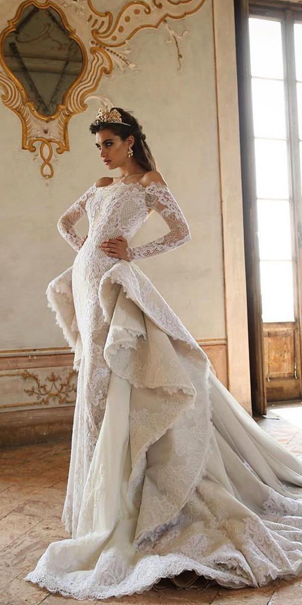 off the shoulder wedding dresses with sleeves overskirt lace jaton couture