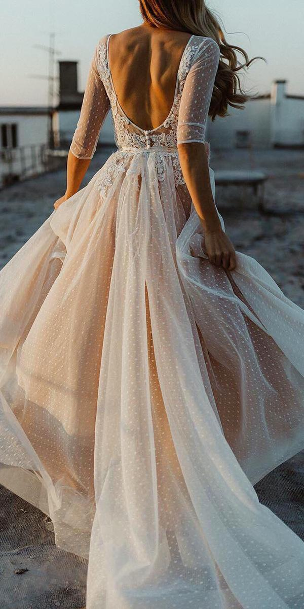 open back wedding dresses a line with three quote sleeves blush beach danilo and sharon