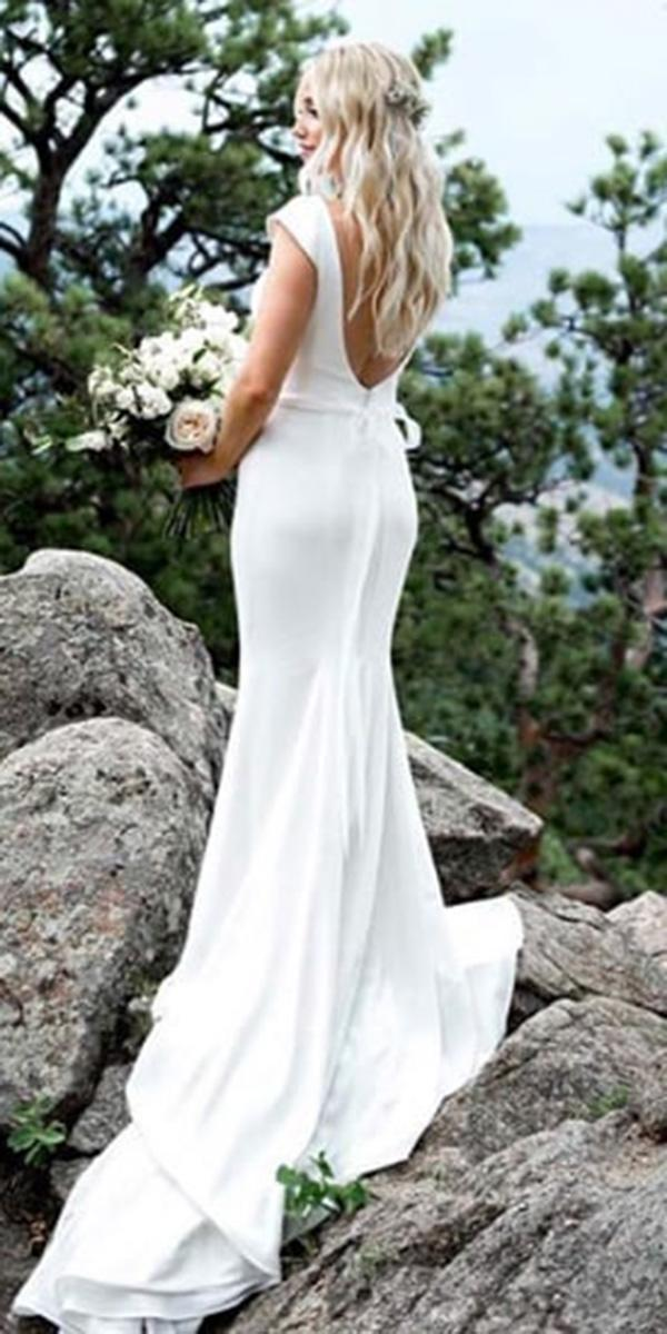 open back wedding dresses simple beach mikaella