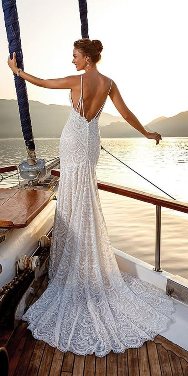 open back wedding dresses with spaghetti straps full lace for beach eddyk bridal