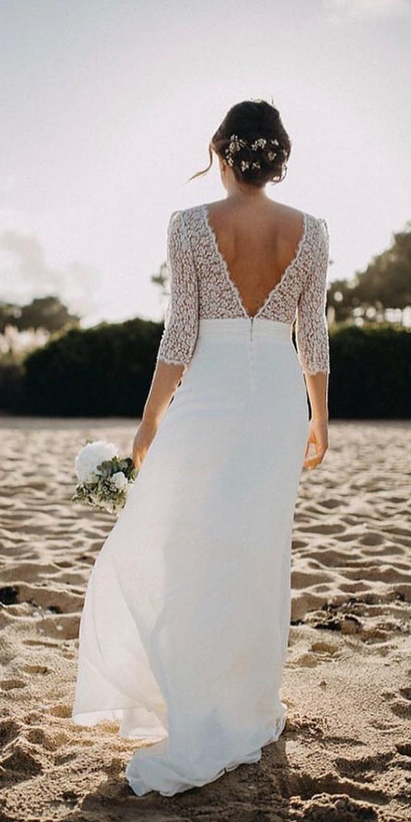 open back wedding dresses with three quote sleeves lace top beach laure de sagazan