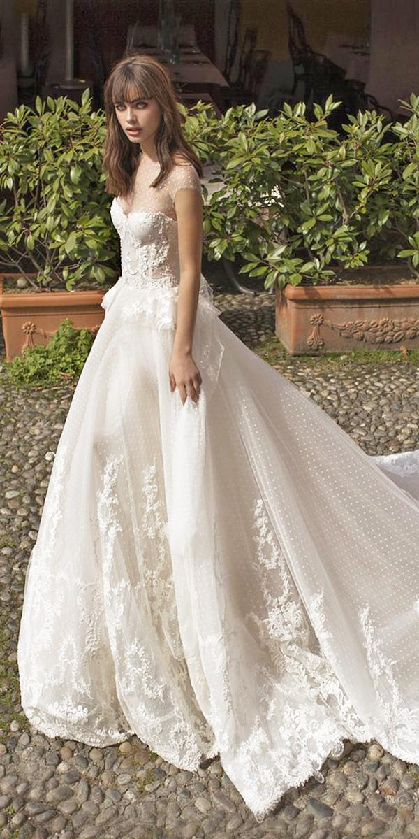 pinella passaro wedding dresses a line illusion neckline with cap sleeves sweetheart lace