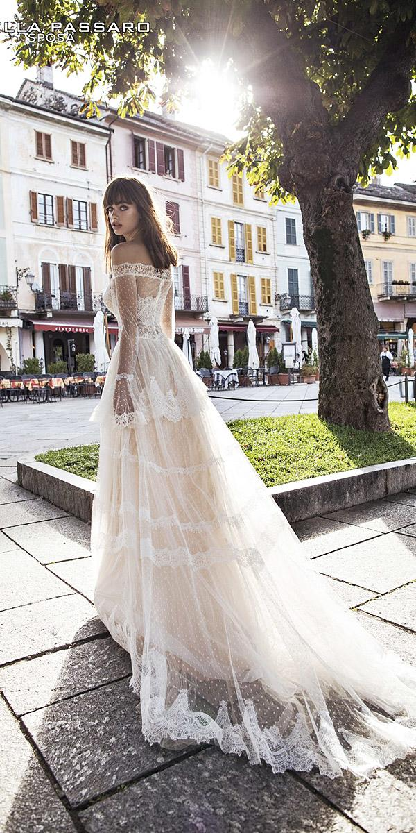 pinella passaro wedding dresses a line off the shoulder illusion sleeves delicate lace ivory