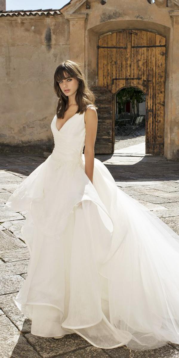 pinella passaro wedding dresses a line v neckline simple ruffled skirt