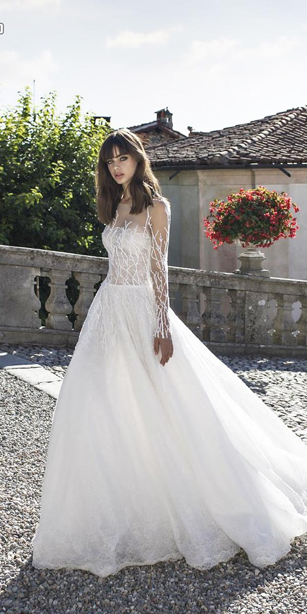 pinella passaro wedding dresses a line with illusion sleeves floral