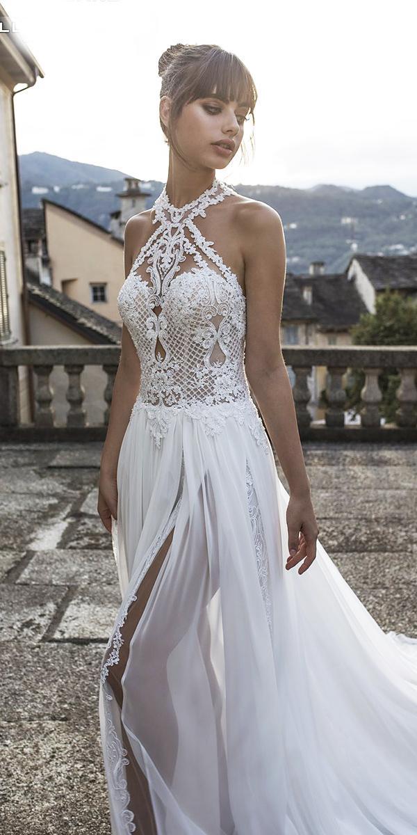 pinella passaro wedding dresses lace halter neckline with slit 2018