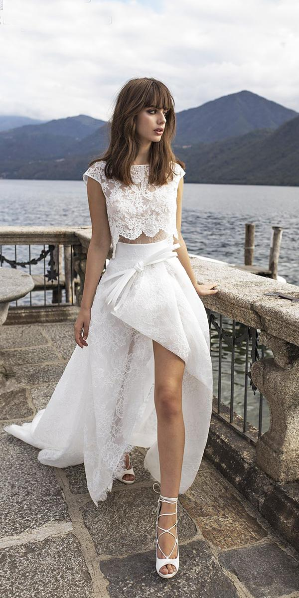 pinella passaro wedding dresses lace top with cap sleeves high low skirt sexy