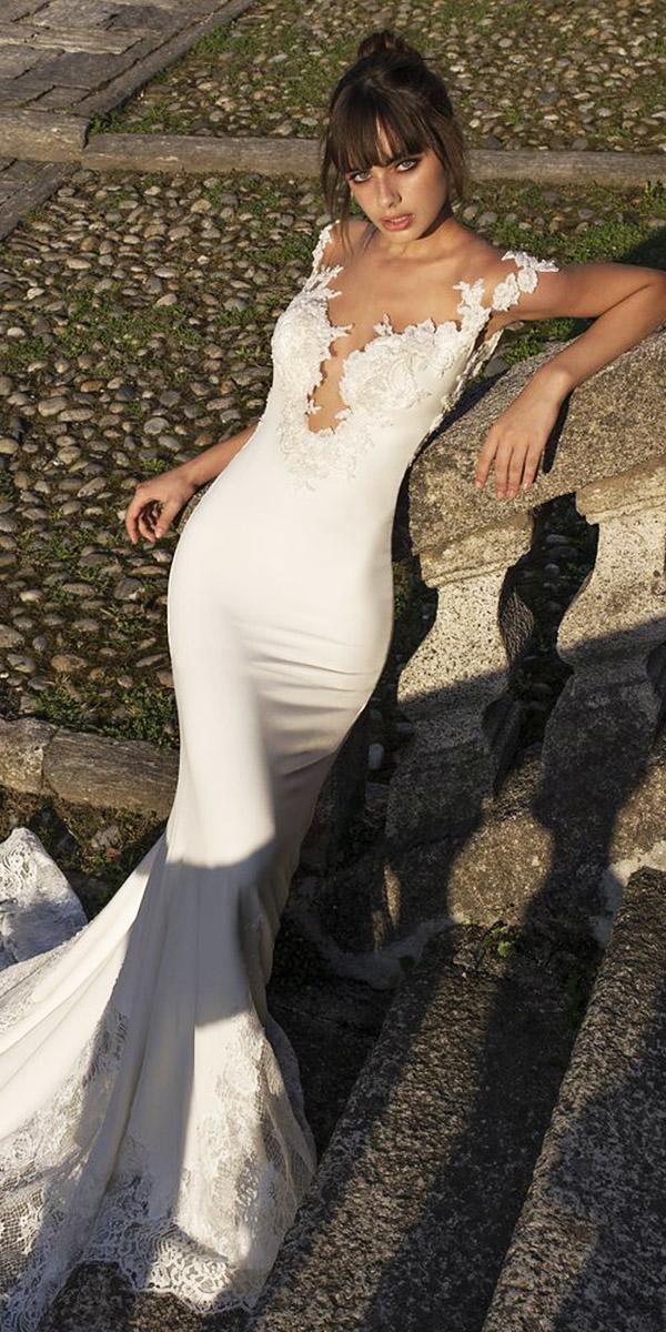 pinella passaro wedding dresses sheath deep v neckline sweetheart lace 2018