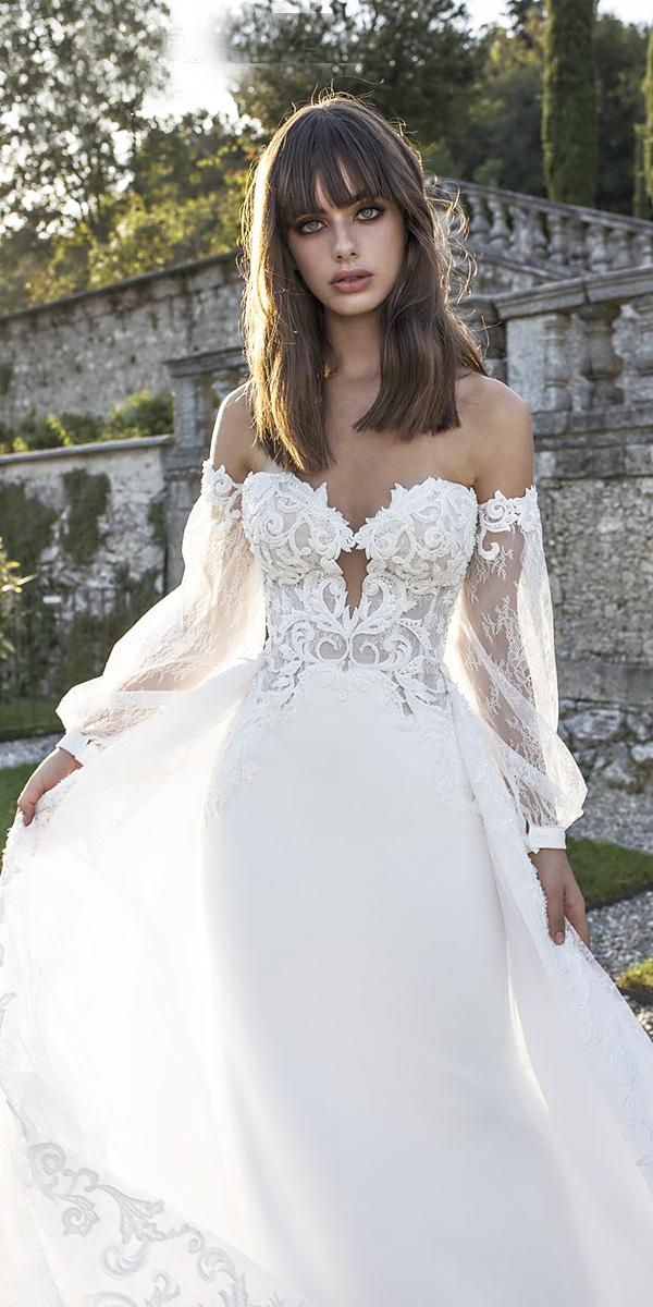 pinella passaro wedding dresses sheath sweetheart with detached sleeves sexy
