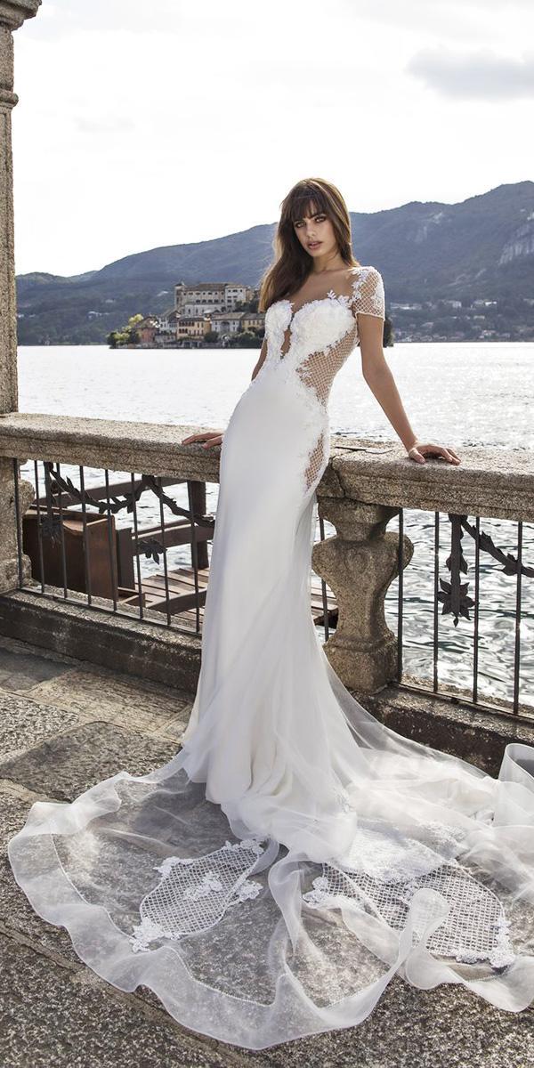 pinella passaro wedding dresses sheath sweetheart with illusion cap sleeves