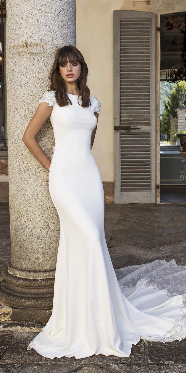pinella passaro wedding dresses sheath with cap sleeves simple train 2018